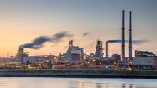 Industrial Landscape Scene At Sunset