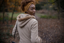Portrait Beautiful Young Woman Walking In Autumn Park