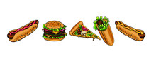 Delicious Hand Drawn Vector Roll In Pita Bread With Lettuce, Meat And Cheese, Slice Of Pizza With Mushrooms, Cheeseburger With Cucumbers, Hot Dog With Sausage And Sauce. Isolated Appetizing Fast Food