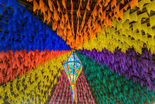Colorful Flags And Decorative Balloon For The Saint John Party, Which Takes Place In June In Northeastern Brazil.