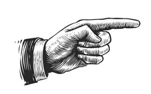 Hand With Pointing Finger. Illustration Drawn In Vintage Engraving Style