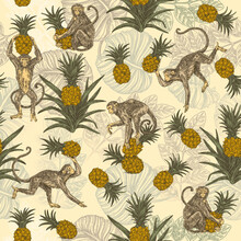 Beautiful Yellow Seamless Pattern With Monkeys And Pinealpples. Color. Engraving Style. Vector Illustration.