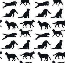 Vector Seamless Pattern Of Hand Drawn Cat Silhouette Isolated On White Background