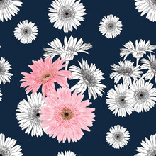 Seamless Pattern Floral With Pink Gerbera Flowers Abstract Background.Vector Illustration Hand Drawn Line Art.fabric Textile Pattern Print Design