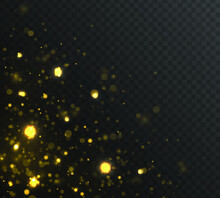 Festive Golden Luminous Background With Colorful Lights Bokeh. Glow Bokeh Effect. Christmas Concept. The Dust Sparks And Golden Stars Shine With Special Light. Vector Illustration.