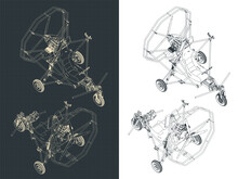 Ultralight Trike Aircraft Isometric Blueprints