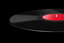 A Black Vinyl 33 1/3 Rpm Record Album With A Red Label Is Seen In This 3-d Illustration.