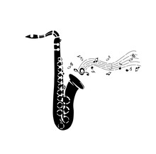 Saxophone. Black On A White Background. Vector Illustration
