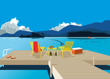 A Wooden Deck With A Set Of Furniture And Fishing Tools, Beautiful Summer Lake Landscape On The Background, EPS 8 Vector Illustration