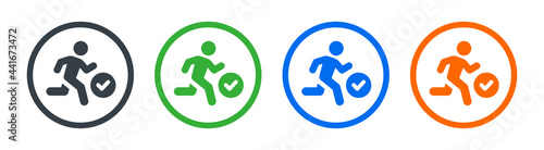 Fotografiet Running man with check mark icon on circle design. Active concept