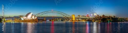 Fotografija Panoramic night view of Sydney Harbour and City Skyline of circular quay the bridge  nsw Australia