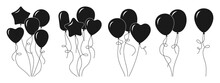 Bunch Balloon Cartoon Black Glyph Set. Silhouette Helium Air Balloons Bunches And Groups Party Collection. Birthday Or Valentines Day. Holiday Anniversary Surprise Round Circle, Heart Shape Vector