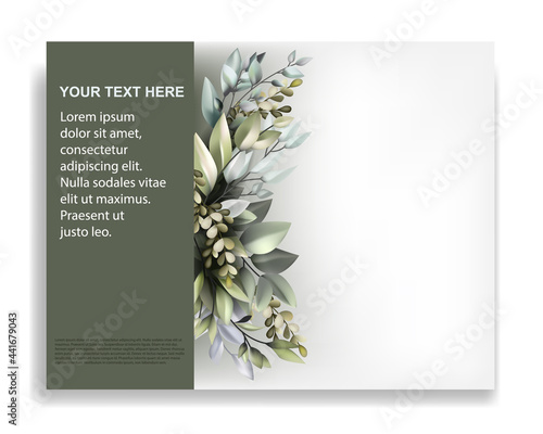Photo brochure template with beautiful flora ornament