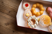 Sweet Donuts In A Paper Donut Box Dessert Snack Food, Different Type Of Donuts Set