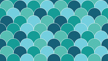 Fishscale Scallop, Moroccan Mermaid Tile Mosaic. Multicolour Turquoise, Teal Green, Aqua And Dark Blue Fish Scale Tiles With White Outline. Seamless Vector Repeat Background Texture Pattern Wallpaper