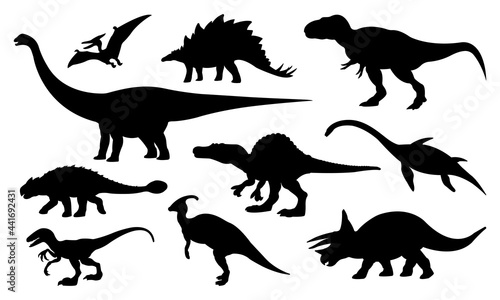 Canvastavla Collection of Dinosaurs Silhouettes Isolated on White Background