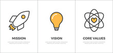 Mission, Vision And Core Values Banner Template Flat Vector Icon