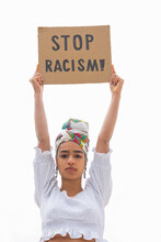 Black Protester Showing Stop Racism Placard On White Background