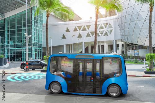 Obraz na plátně Autonomous electric bus self driving on street, Smart vehicle technology concept
