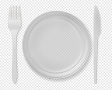 Realistic Detailed 3d Disposable White Plastic Cutlery Set Include Of Spoon, Knife And Fork For Picnic. Vector Illustration