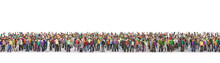 Crowd Of People In The Queue On A White Background. 3d Illustration