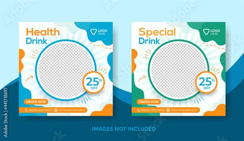 Obraz na płótnie Fresh Drink Menu Banner Template, Social Media Post Template