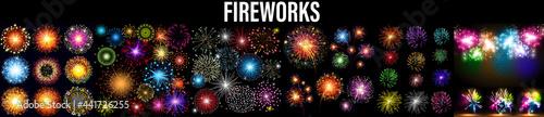 Fotografiet Fireworks isolated on dark transparent background