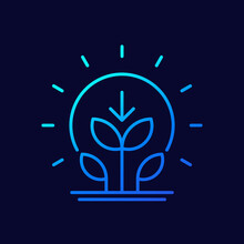 Photosynthesis Thin Line Icon With Plant And Sun