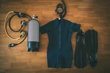 Diving Equipment: Fins, Snorkel Set, Wetsuit, Tank And Scuba Regulator