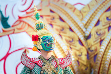 Giant Carrying A Sword. Ramayana Story. The Battle Of Rama. Thailand Dancing In Masked Perform A Thai Traditional Masked Ballet (Khon)