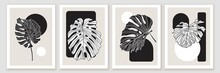 Botanical Minimal Wall Art Design. Composition With Monstera Leaves. Black And White Geometric Shapes.