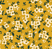 Trendy Seamless Vector Floral Pattern. Seamless Print Made Of Small White Flowers. Summer And Spring Motifs. Yellow Gold Background. Stock Vector Illustration.