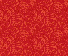 Trendy Seamless Vector Floral Pattern. Print Made Of Red Orange Leaves And Branches. Summer And Spring Motifs. Bright Red Background. Stock Vector Illustration.