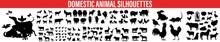 Domestic Animals Silhouettes , Vector Farm Animals Silhouettes Isolated On White, Farm Animals Silhouettes.Farm And Domestic Animals,Animals Silhouettes, Vector Farm Animals Silhouettes Isolated