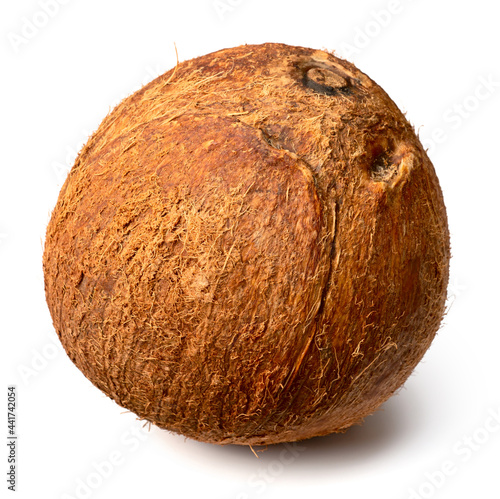 Canvas whole hairy coconut fruit isolated on white background