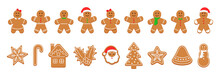 Xmas Gingerbread Cookies. Christmas Classic Biscuit. Cute Ginger Bread Men, Tree, Santa, Holly, Snowman And Gift Box. Noel Holiday Sweet Dessert Isolated On White Background. Vector Illustration.