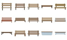Bench Icons Set Flat Vector Isolated