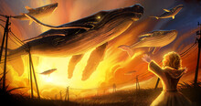 A Flock Of Huge Air Magic Whales Swims Through The Air, Against The Background Of A Bright Orange Sunset, A Cute Girl With Bright Golden Hair In A Yellow Raincoat Waves To Them From Below. 2d Art