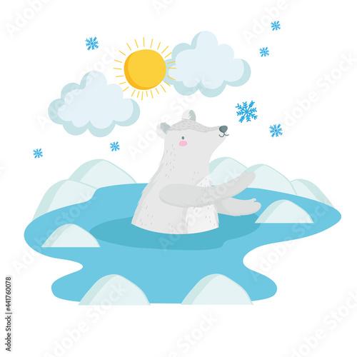 Fotografiet polar bear and snowflakes