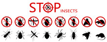 Anti Pest Control Ban, Prohibition Parasitic Insects. Stop, Warning, Forbidden Bug Icon Set. No, Prohibit Signs Of Cockroaches, Spiders, Fly,mite, Ticks, Mosquitoes, Ants, Rats, Bug