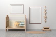 Kids Room Nursery Mockup Template With Cradle, Pillows, Hanging Toys And Two Horizontal And Vertical A4 Frames.