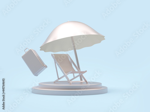 Silver chaise lounge with beach umbrella and suitcase on a stand on blue Fototapeta