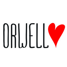 Orwell City Lettering Heart Love Logo Icon Sign Symbol Emblem Hand Drawn Ink Sketch Design Cartoon Children's Style Fashion Print Clothes Apparel Greeting Invitation Card Cover Flyer Poster Banner
