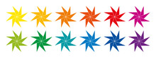 Rainbow Colored And Pinwheel Shaped Eight-pointed Stars. Twelve Geometric Figures, That Create The Impression Of Rotation, Similar To Curls Of A Spinning Wind Wheel. Illustration Over White. Vector.