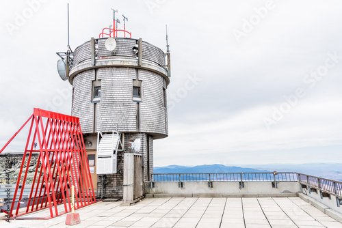 Weather station on the top of a mountain on a cloudy autumn day Fototapeta