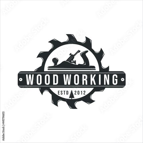 Obraz na plátně jack plane and sawmill logo vintage vector illustration template icon design