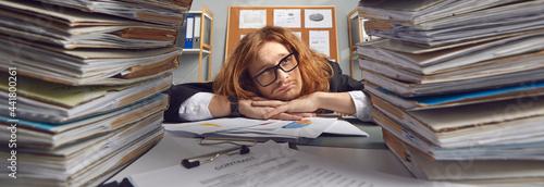 Sad busy clerk looking at too much paperwork Tapéta, Fotótapéta