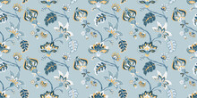 Floral Seamless Pattern, Background. Whimsical Flowers Jacobean Style On A Pastel Blue Background