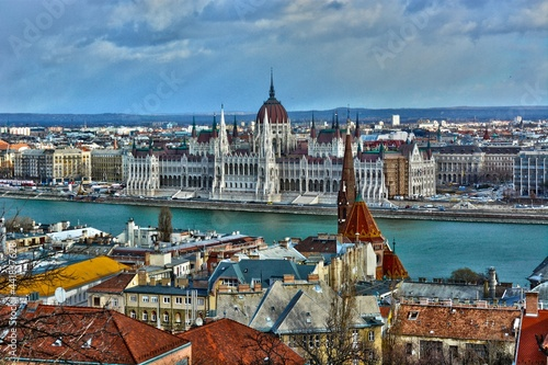 Canvastavla Hungarian Parliament View From Fishermans Bastion