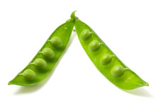 Two Halves Of Green Young Peas Isolated On White Background. Legume Pods, Nutritious And Delicious Peas.